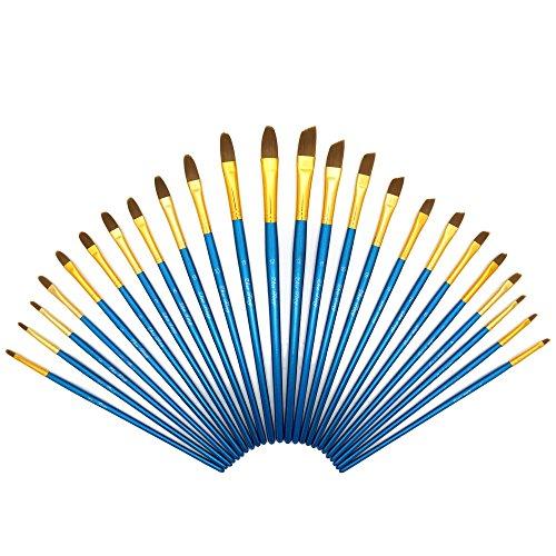 Boclay Malen Pinsel Set 24 teilig, Nylonhaar Holzgriff Schrägpinsel Katzenzungenpinsel, Malerbedarf Künstlerpinsel Malerpinsel für Acryl Gouache Aquarell Ölgemälde Wasserfarben Malerei