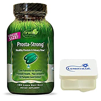 Irwin Naturals Prosta Strong Supplement Supports Prostate Health and Urinary Flow - 180 Liquid Softgels Bundle with a Pill Case