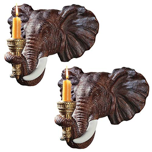 Design Toscano NG930614 Elephant African Decor Candle Holder Wall Sconce Sculpture, 12 Inch, Set of Two, Polyresin, Full Color,Set of 2
