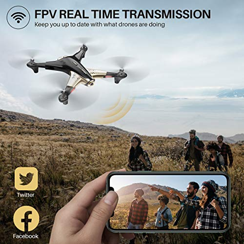 Syma Drone with 1080P FPV Camera,Optical Flow Positioning,Tap Fly,Altitude Hold,Headless Mode,3D Flips,2 Batteries 40mins Flying UFO Remote Control Quadcopter for Kids Beginners