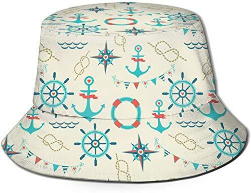 Cuerda de ancla Banderas Brújula cubo con estampado unisex Sombreros de pescador pesca Gorra plegable reversible de verano Mujeres Hombres Sombrero para el sol al aire libre Viaje Campamento de playa
