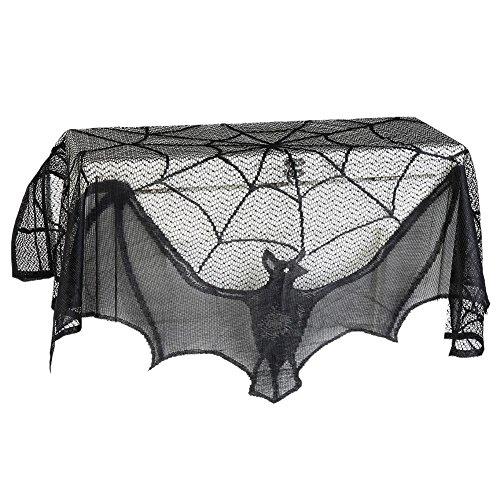 Moresave - Tela decorativa de Halloween para chimenea, mesa, ventana, con diseño de tela de araña