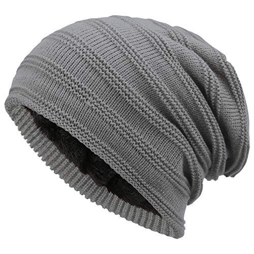 Bequemer Laden Wintermütze Herren Damen Warme Strickmütze Slouch Beanie Mütze mit Wollfutter, Strickstreifen-Hellgrau, Einheitsgröße