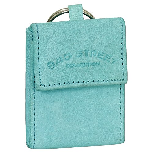 Mini Geldbörse mit Geldscheinfach und Schlüsselanhänger echt Leder Farbe aquablau