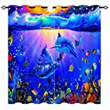 ANHOPE Ocean Curtain, Tropical Fish Coral Dolphin Underwater Sea World Art 3D Pattern Semi Blackout Curtains Print Grommet Window Drapes for Bedroom Living Room Home Decor 2 Panels W42 x L63