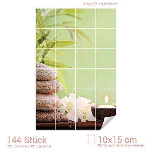 Graz Design 761611 tegelstickers stenen/wellness set voor tegels   badkamertegels met folie beplakken Fliesenmaß: 10x15cm (BxH) Afbeelding: 120 x 180 cm (B x H)
