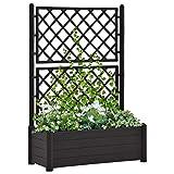 Dioche Jardinera con tutor, tamaño XL, 100 x 43 x 142 cm, polipropileno, antracita, para jardín, terraza y balcón