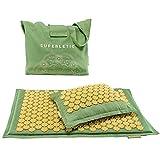 SUPERLETIC®- Tappetino per agopressione con cuscino, da massaggio, in fibra di cocco, sostenibile, per agopression, relax e vitalità, cuscino con profumo di lavanda lenitivo