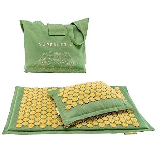 SUPERLETIC® Akupressurmatte mit Kissen - Massagematte aus Kokusfasern I Nachhaltige Massage Matte und Acupressure mat zur Entspannung & Vitalisierung...