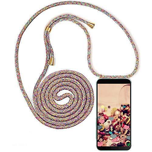 QCHMM Funda con Cuerda Compatible con LG K30 (2019) - Transparente TPU Carcasa Suave Silicona Case Cuerda con Colgante Ajustable Collar Correa de Cuello Cadena Cordón Protector Cover - Arco Iris