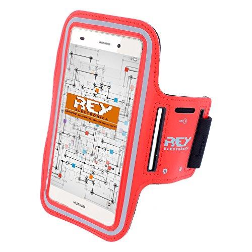 Brazalete Deportivo Reflectante para Smartphones Desde 5' hasta 6', en Color Rojo