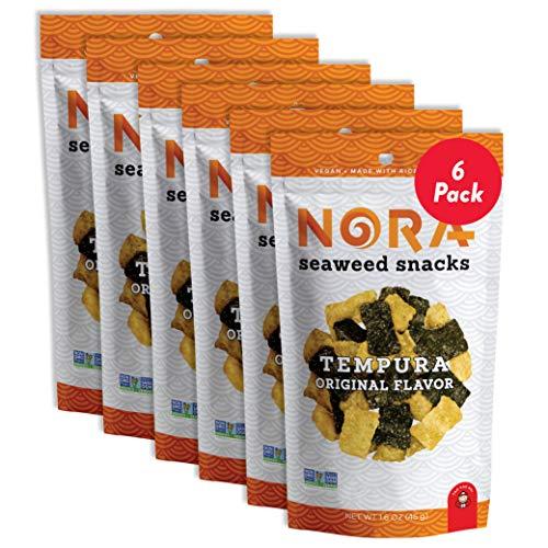 Tempura Original Crispy Seaweed Snacks by Nora | Asian Snack | Low-Sugar, Vegan, Non-GMO Verified | 6-Pack