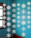 クリスマス飾り 雪の結晶 6本入り ガーランド 雪花 クリスマス飾り付け 可愛い 写真小物 パーティー イベント装飾 ペーパーガーランド クリスマス 雰囲気づくり (6本入り)