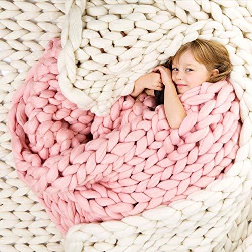 TONINI Chunky Knit Coperta ingombranti Gettare Lana Merino Hand Made Letto Divano Gettare Animali Poltrona Letto Mat Tappeto, (Color : Pink, Size : 32'×32')