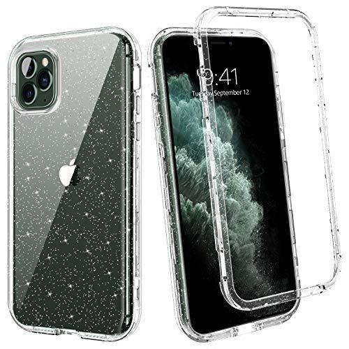 BENTOBEN Funda iPhone 11 Pro, Transparente Cristal Purpurina 3 en 1 Carcasa Combinada Dura PC Bumper y Silicona TPU Resistente Cuerpo Completo Antigolpes Cubierta Protectora para iPhone 11 Pro 5.8''