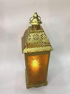 Vintage Lantern Candle Holder Tea Light Hurricane Lamp Metal Glass Decorative Storm Lanterns for Patio Indoor Vintage Geometric Hanging Shabby Chic Wedding Decoration