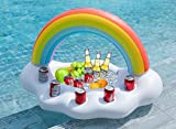 Big with 5 cup holders works with party cups, cans, and bottles. One built in snacks salad ice/Serving chest. Vibrant Rainbow Printing + White cloud. Great addition for the pool, lakes, hot tub, parties etc. Thick,soft and durable premium raft-grade ...