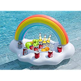 Jasonwell Inflatable Rainbow Cloud Drink Holder Floating Beverage Salad Fruit Serving Bar Pool Float Party Accessories… 1 Big with 5 cup holders works with party cups, cans, and bottles. One built in snacks salad ice/Serving chest. Vibrant Rainbow Printing + White cloud. Great addition for the pool, lakes, hot tub, parties etc. Thick,soft and durable premium raft-grade non-phthalates material