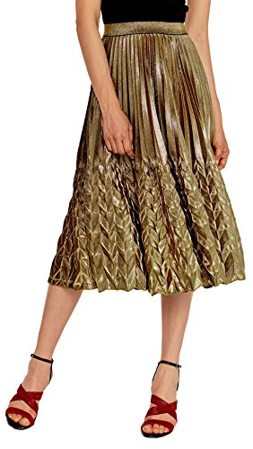CHARTOU Women's Glitter Metallic Chevron Pattern Gold & Silver Mid-Long Accordion Pleated Skirts (Gold, X-Small)