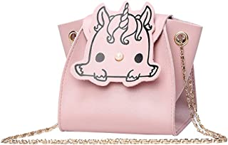 FENICAL Crossbody Bags Mini Unicorn Coin Purse Cartoon Cute Chain bag for Kids Girls (Pink)