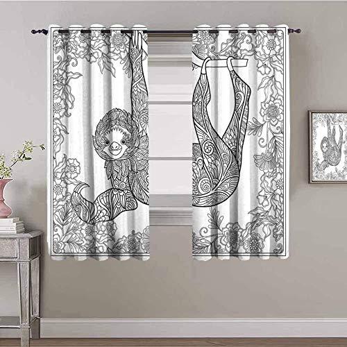 LucaSng Cortinas de Opacas - Abstracto Flor Animal patrón - 234x183 cm - para Sala Cuarto Comedor Salon Cocina Habitación - 3D Impresión Digital con Ojales Aislamiento Térmico Cortinas