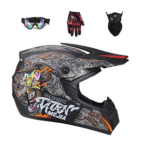CYSJX Casco completo para motocross todoterreno, quad Crash, casco ECE Downhill Dirt Bike MX ATV para adultos, gafas y máscara, juego de 4 piezas (S-XL), Mattblack-L