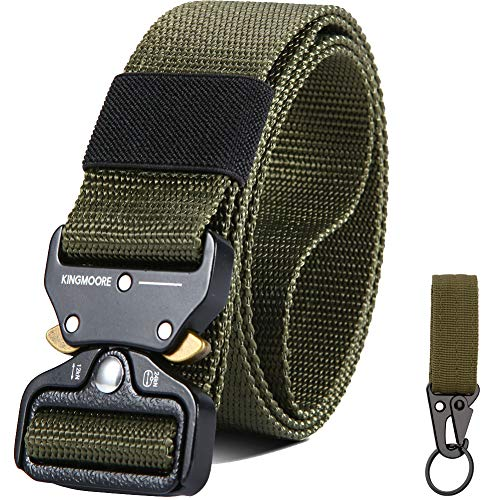 """KingMoore Mens Tactical Belt, Military Style Webbing Riggers Web Gun Belt with Heavy-Duty Quick-Release Metal Buckle (Waist:36""""-41"""", Army Green)"""