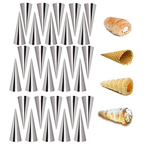Backform aus Edelstahl, antihaftbeschichtet, kegelförmig, Backform, Eiswaffe, knusprige Form (17 Stück)