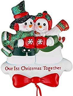 Snow Couple Our 1st Christmas Together - Unique Christmas Tree Ornament - Special Keepsake - Custom Decorations for Significant Others, Loved Ones, and Special Couples - Personalization Included