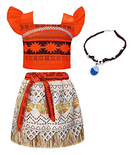 Cotrio Conjunto de vestido Princesa Moana para meninas vestido de cosplay para festa de Halloween infantil roupa de aventura com colar 7-8 anos