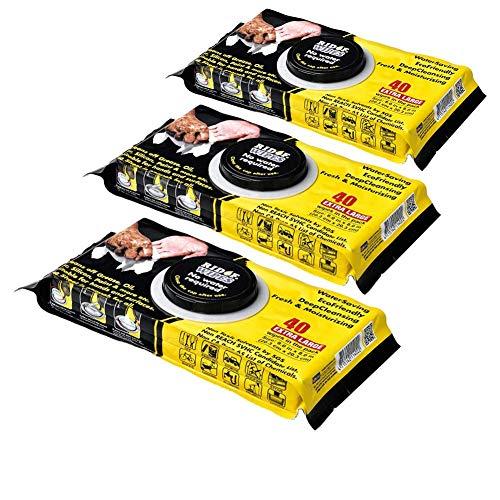 RIDOF WIPES toallitas multiusos profesionales lavamanos envase de 40 Pcs desechables limpia y protege eficazmente las manos de todo tipo de suciedad SIN Solventes Tóxicos (3 Packs)