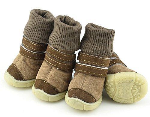 Mädchen Jungen Haustier Hund Katze schützende Schuhe Sandalen Sneakers Sportschuhe Kleidung Kleidung Party Kostüm Outfit Accessoire UK braune Stiefel, Small