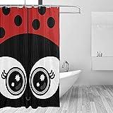 QAZX Cortina de Ducha Ladybug Guest Kids Set de baño con Ganchos Baño de la Granja Bañera a Prueba de Agua Accesorios de Ventana