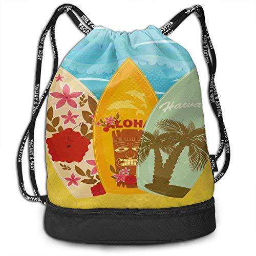 Qinckon Hawaiian Beach Surfboards Color Drawstring Bag Gym Bag Sport Bag for Men Women