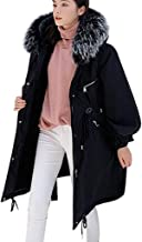 iHHAPY Women's Down Jacket Warm Trench Coat Long Coat Solid Quilted Jacket Winter Coat with Faux Fur Hood Down Jacket