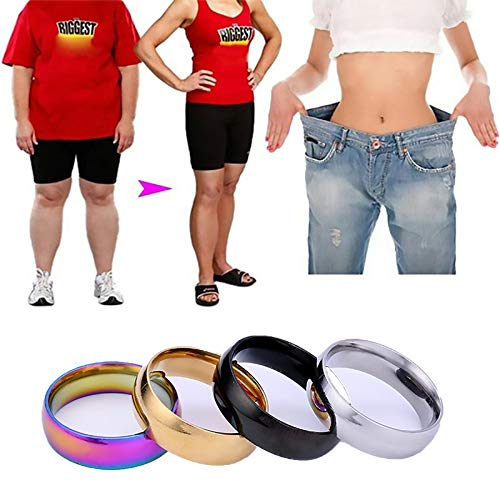 LONG-D 2 Stücke Magnet Ring Verlieren Gewicht Regenbogen Ring Titan Stahl Ringslim Männer Frauen Gesundheit Pflege Schmuck Magnetring,Gold,18mm