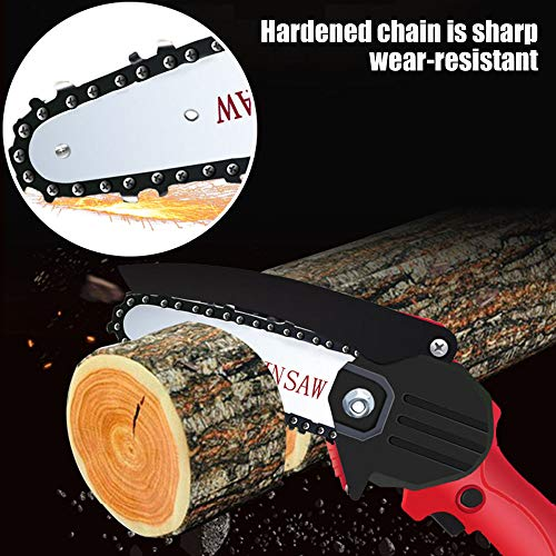 YMWD Mini Chainsaw 4-Inch Handheld Cordless Electric Portable Chain Saw with 3 Chain and Splash Board 0.7kg Lightweight Pruning Shears Chainsaw for Courtyard Tree Branch Wood Cutting,Blue