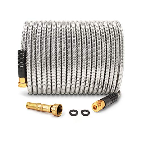 Cesun 50 Feet 304 Stainless Steel Metal Garden Hose with Solid Brass Nozzle, Lightweight Portable...