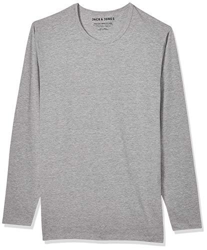 JACK & JONES Herren Longsleeve JJEBasic O-Neck Langarm-Shirt 12059220 Light Grey Melange S