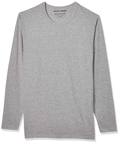 JACK & JONES Herren Langarmshirt 12059220 Basic O-Neck Tee, Gr. 50 (M), Grau (LIGHT GREY MELANGE)