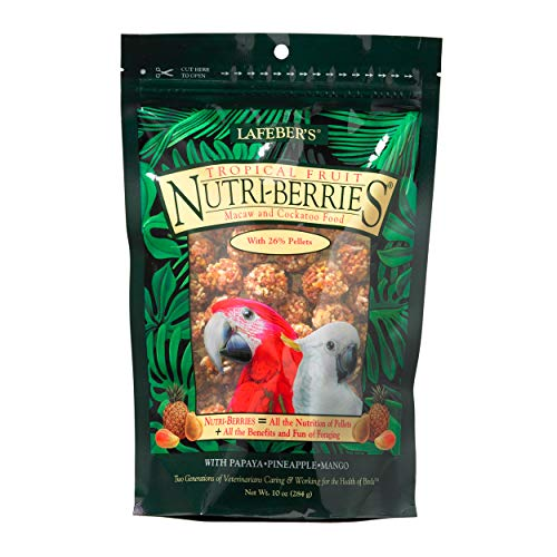 LAFEBER'S Tropical Fruit Nutri-Berries Pet Bird Food, Made with Non-GMO and Human-Grade Ingredients, for Macaws and Cockatoos, 10 oz