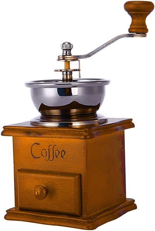 Hemore Coffee Grinder Coffee Maker Bean Grinder Antique Appearance Wooden Base
