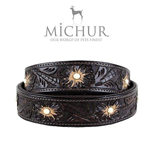 MICHUR Pablo Hundehalsband Leder, Lederhalsband Hund, Halsband, BRAUN, Leder, mit gestanzten Blumenmuster und weißem Stein, in verschiedenen Größen erhältlich