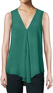 Fitfulvan Womens Irregular Chiffon Top with Hem Sexy Deep V Loose Solid Color Sleeveless Vest Quick-Drying Tank Tops