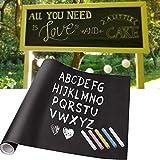 iKINLO Tafelfolie Kreidetafel Selbstklebende Tafel-Aufkleber schwarz 61x 500cm Blackboard DIY Folie...