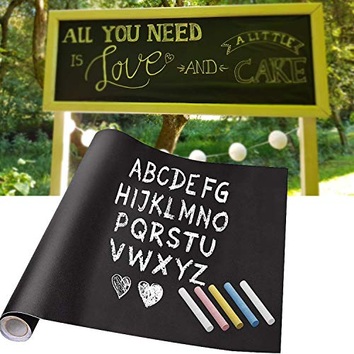 KINLO Tafelfolie Kreidetafel Selbstklebende Tafel-Aufkleber schwarz 61x 500cm Blackboard DIY Folie Multifunktion für Kinderzimmer Arbeitsraum Büro Küchenwand Restaurant