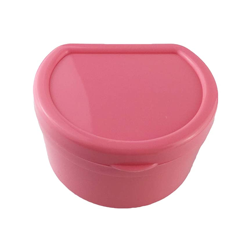 中断フェザー新鮮なSUPVOX 義歯バスボックスケース入れ歯カップ付きストレーナーネット付偽歯(ピンク)