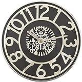 Bestime 13 inch Gear Clock Wall Clock, Silver Frame, Simple Style Easy Read.