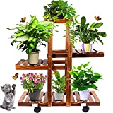 Plant Stands for Indoor Plants Wood Flower Pots Stand Plant Holder Outdoor with Wheels Multi Tier Plant Display Rack Flower Shelf Plant Shelves Rack Holder for Living Room Garden Patio Yard Balcony