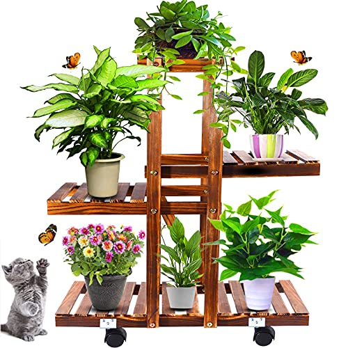 Anzid Wood Plant Stand Indoor Outdoor with Wheels, Multi Tier Plant Display Rack Flower Shelf 26 Inch for Living Room Garden Corner Patio Yard Balcony Bedroom
